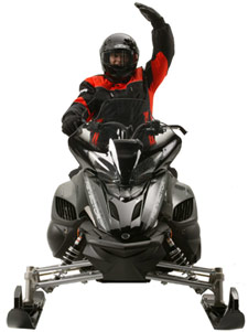 Snowmobiler hand signal for oncoming sleds