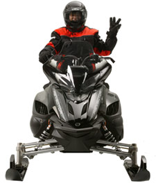 Snowmobiler hand signal for sleds following