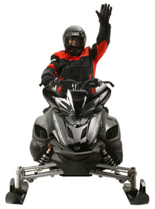 Snowmobiler hand signal to stop