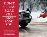 Horizontal Poster of Snowmobilers and text 'Don't Become Road Kill. Stop. Look. Live.'